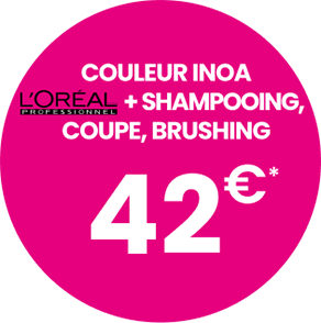 Couleur Inoa + L'Oréal + Shampoing + coupe, brushing : 42€*