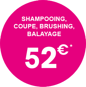 Shampoing, coupe, brushing, balayage : 52€*